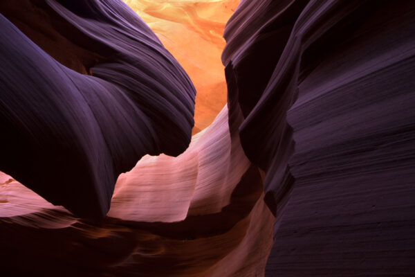 Landscape image of lower Antelope Canyon in stunning colors