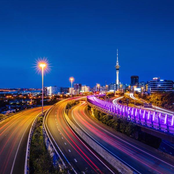 An Image of Highway Traffic at Night in New Zealand