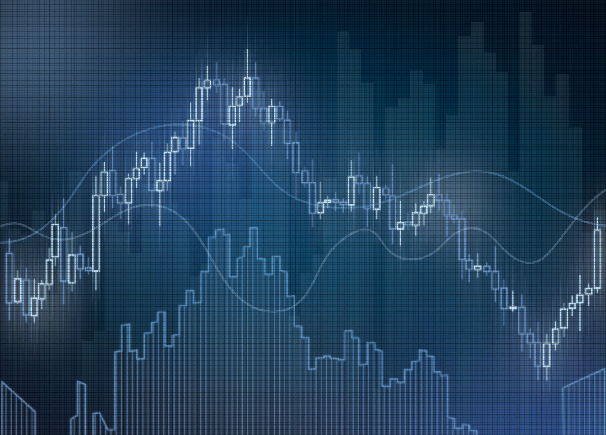 Blue stock graphs and charts on a virtual screen