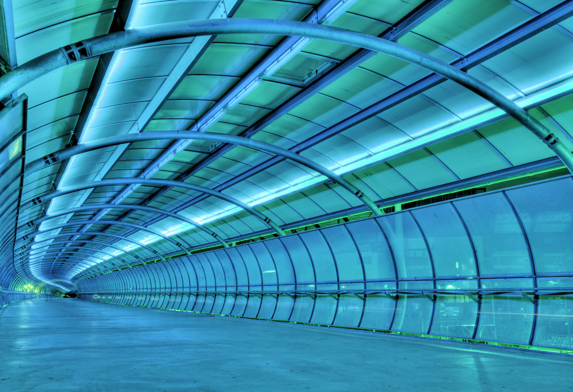A lit-up view of an innovating tunnel of next generation