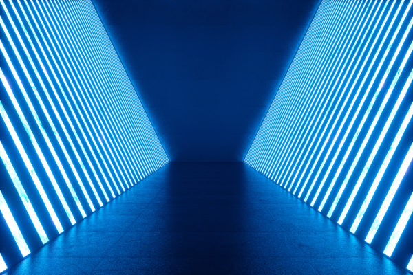 An image of a 3D room with neon lights and architecture of the next generation
