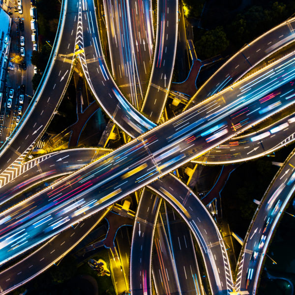 An areal view of the highway of next-generation at night in Shanghai